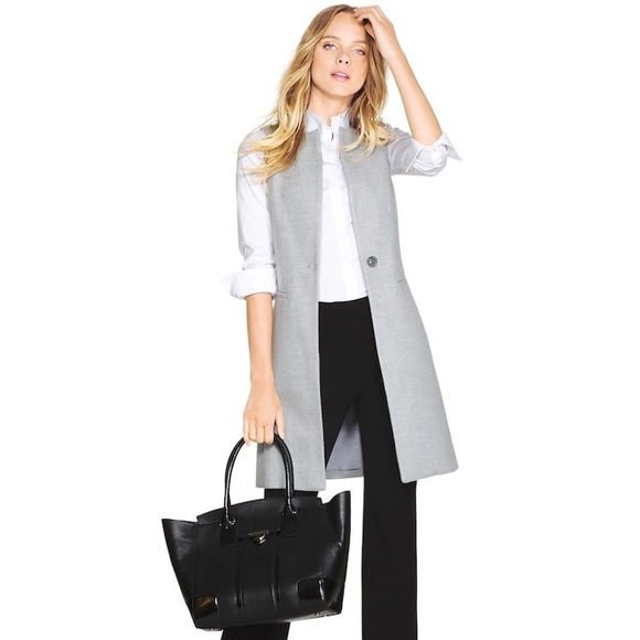 White House Black Market Jackets & Blazers - White House Black Market Grey Long Line Vest  Sz 4